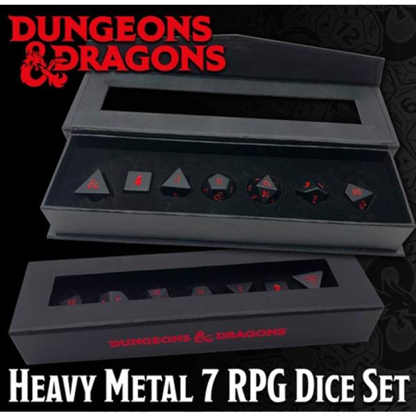 Set di 7 dadi di metallo per i GDR per Dungeons & Dragons