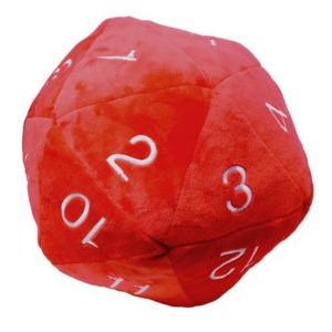 Dado Peluche per Dungeons & Dragons - Rosso con bianco