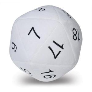 Dado Peluche per Dungeons & Dragons - Bianco con nero